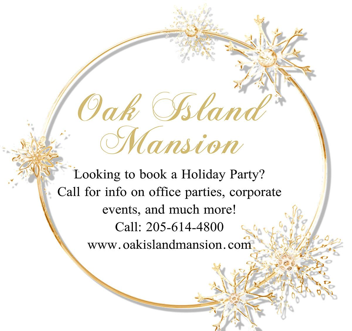Book your holiday party at Oak Island
